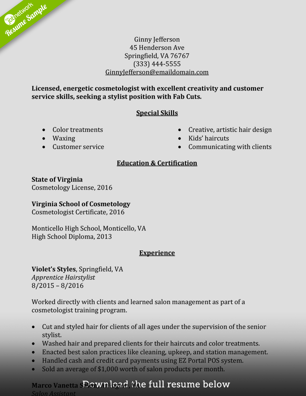 cosmetologist resume examples   Mini.mfagency.co
