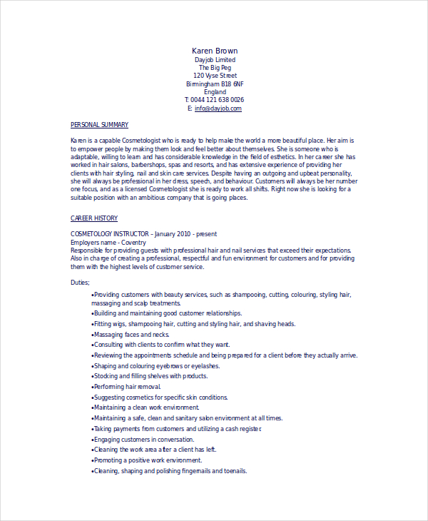Cosmetology Resume Template