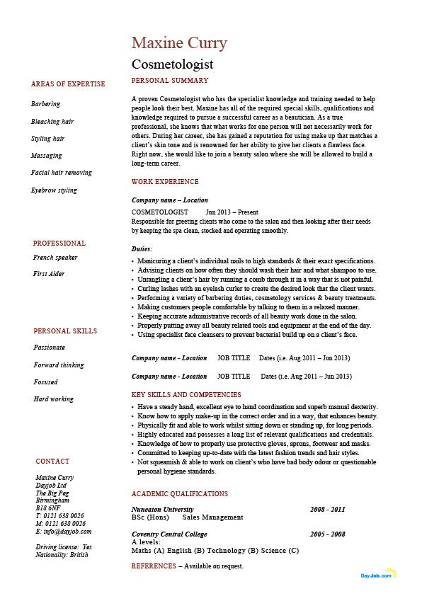 Cosmetologist Resume Template Cosmetology Ideas   shalomhouse.us
