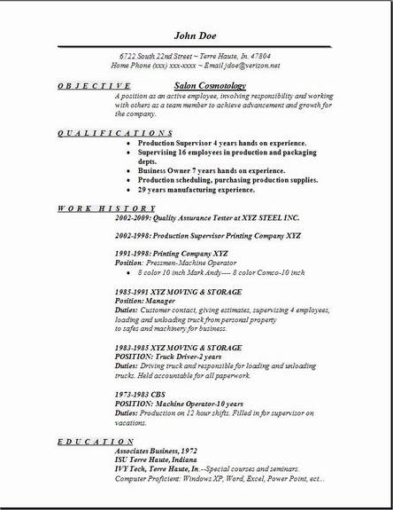 Sample Cosmetology Resume – Free Resume Templates 2018