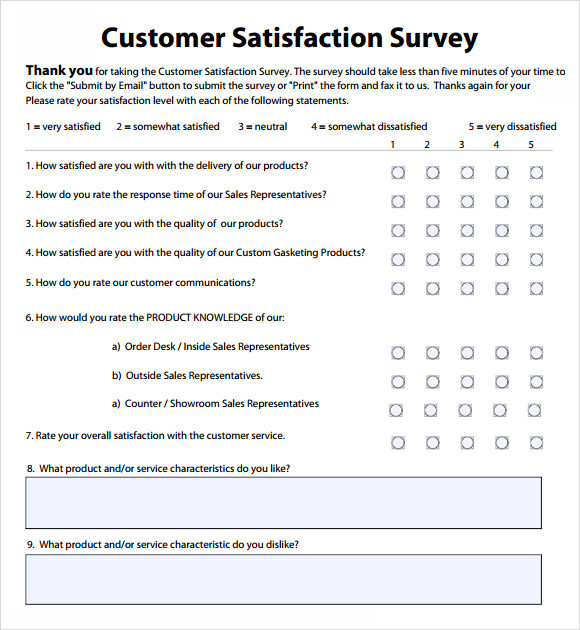 Customer satisfaction survey template word sample grand feedback