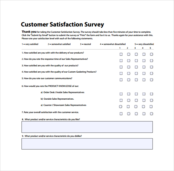 Customer Satisfaction Survey Templates Word Templates Resume