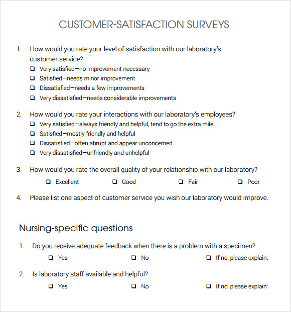 Free Customer Satisfaction Survey Template | Sample Business Template