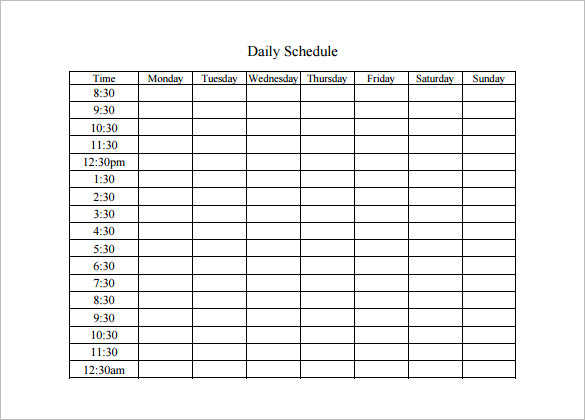 Daily Schedule Template   JP Designs