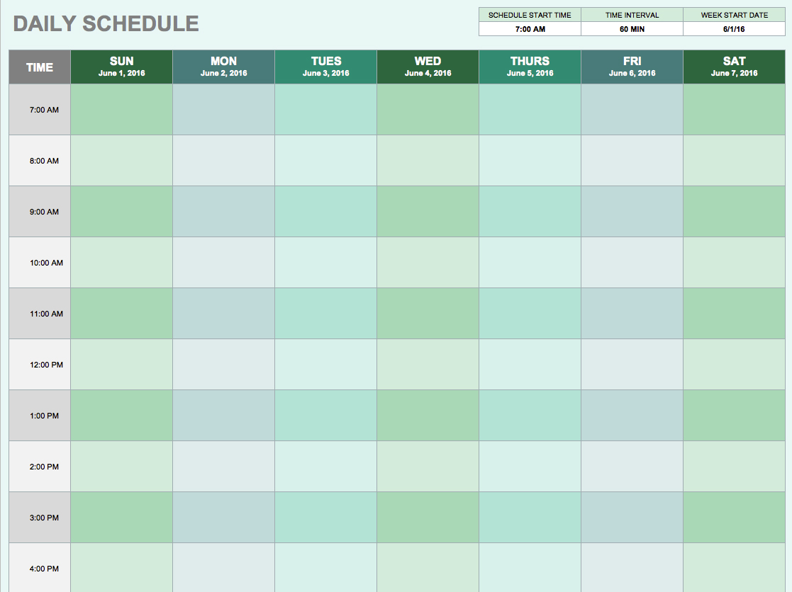 free daily calendar template day planner template word