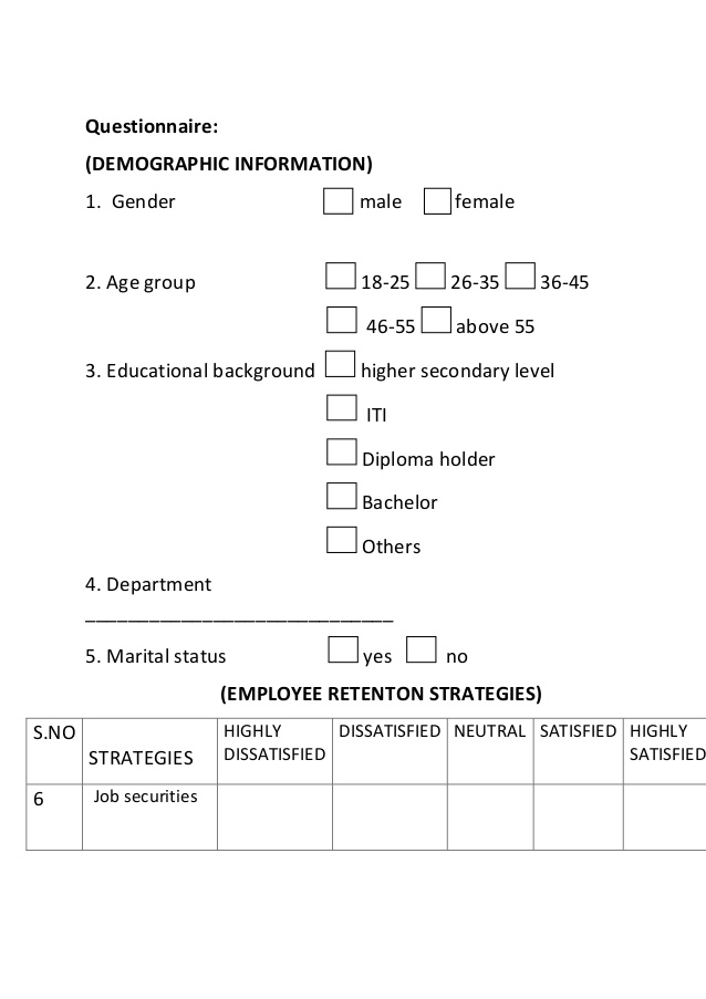 employee retention project Questionnaire pdf
