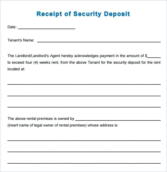 Car Deposit Receipt Template