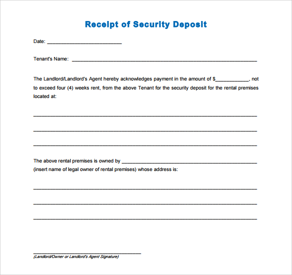 rent deposit receipt template   Joli.vibramusic.co
