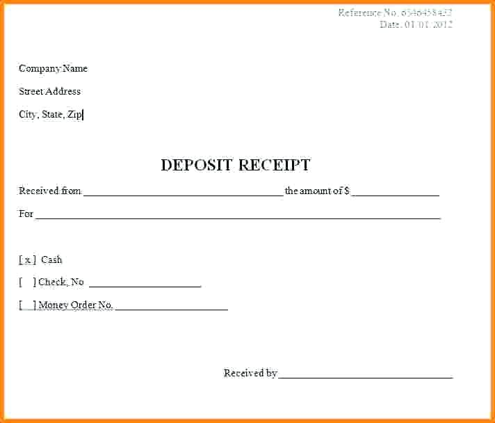 Ideas for Deposit Receipt Template With Template   Wosing.us