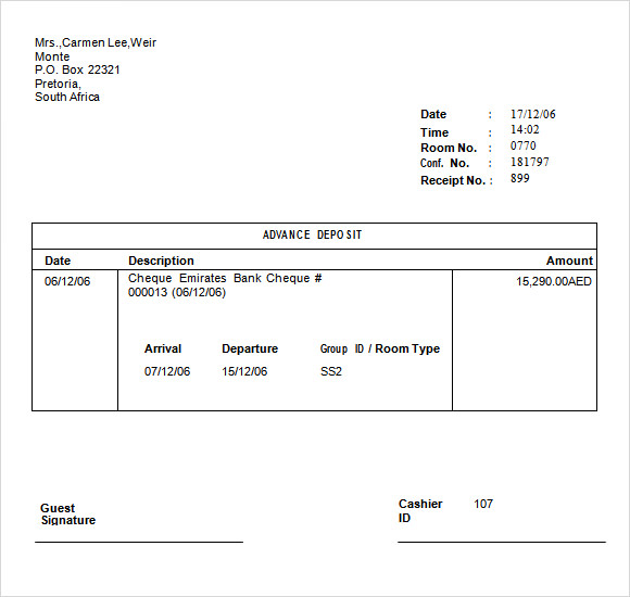 Deposit receipt template word release meanwhile – dacost.info