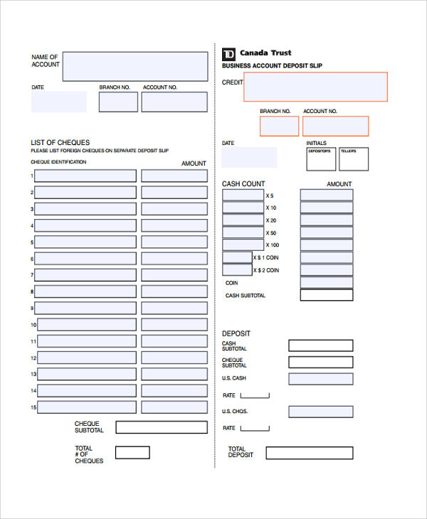 Deposit Slips Template | printable year calendar