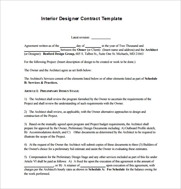 interior design service agreement template 8 interior designer