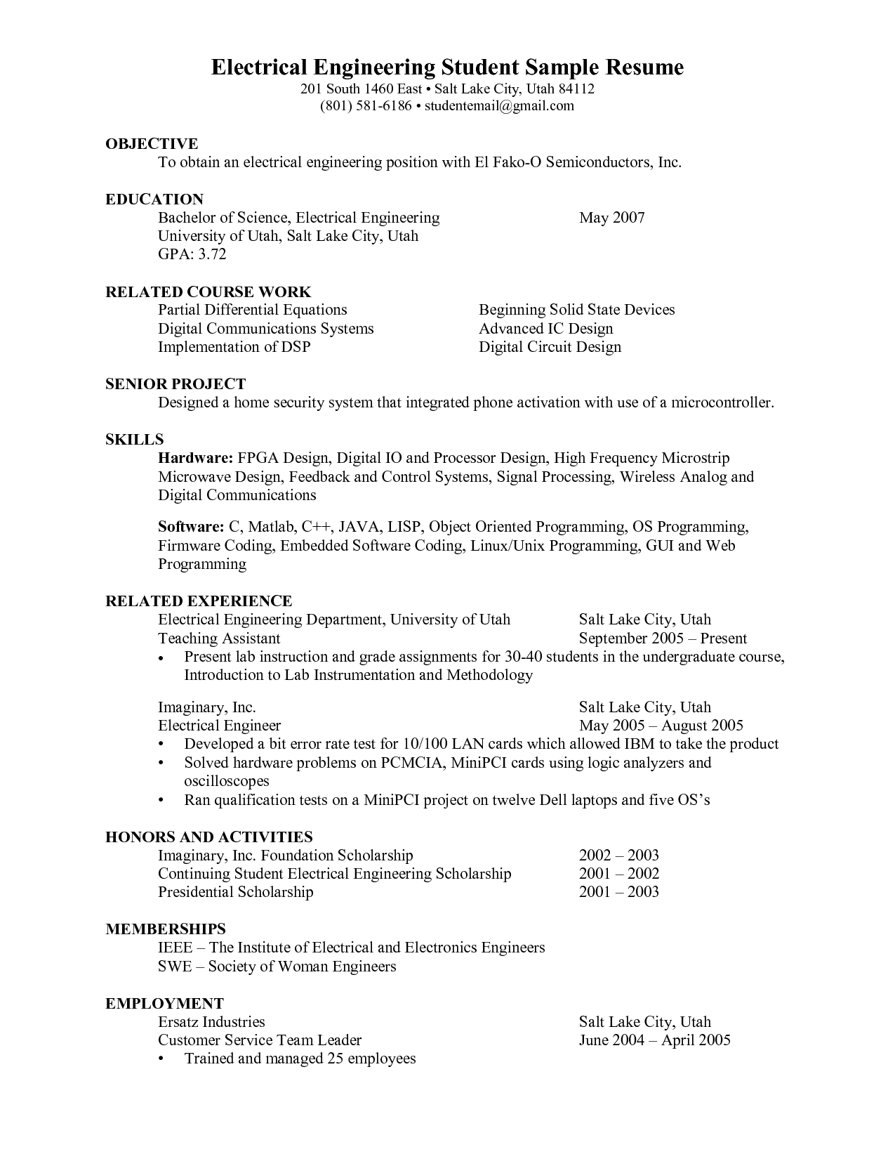 Electrical Engineering Student Resume Emmamcintyrephotography Com