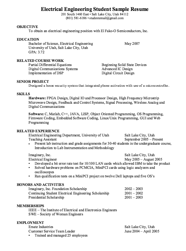Electrical Engineering Student Resume Format | gentileforda.com