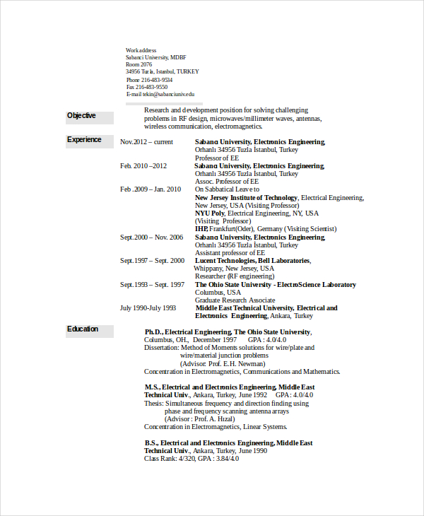 6+ Electrical Engineering Resume Templates   PDF, DOC | Free