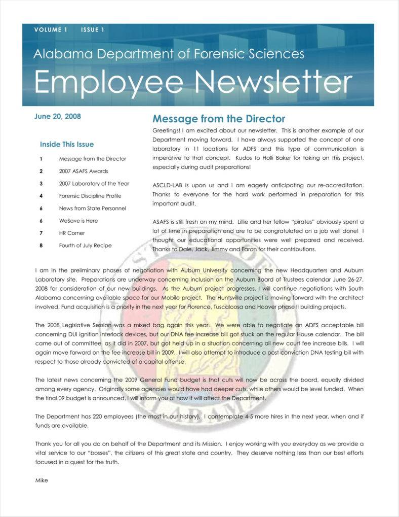 9+ Sample Employee Newsletter Templates   Free PDF Format Download