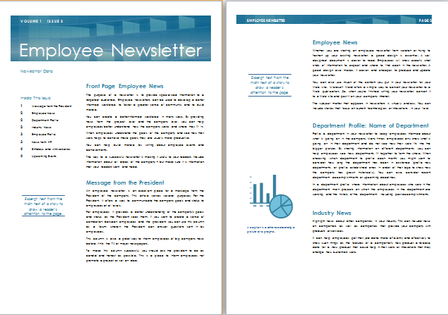 MS Word Employee Newsletter Template | Formal Word Templates