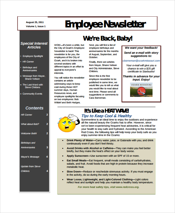 10+ Employee Newsletter Templates | Sample Templates