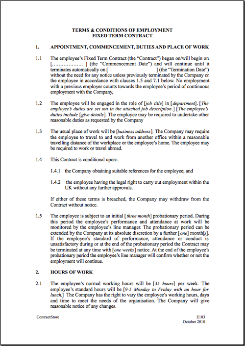 basic employment agreement template uk employment agreement