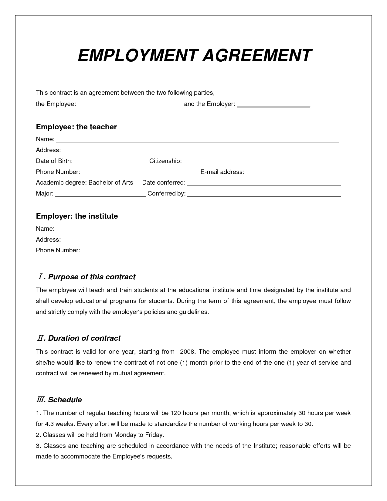 employment agreement contract   Teacheng.us