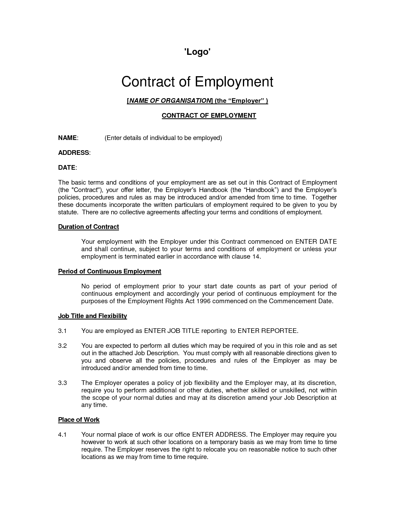 Employment Contract Sample | bravebtr