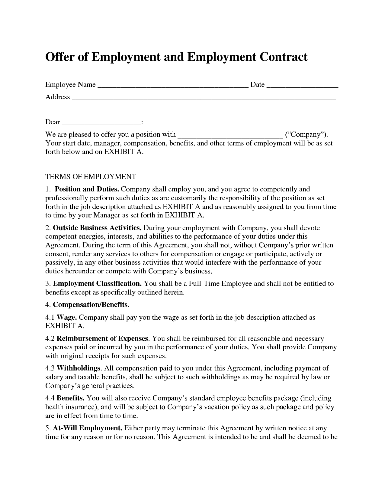 Employment Contract Template | bravebtr