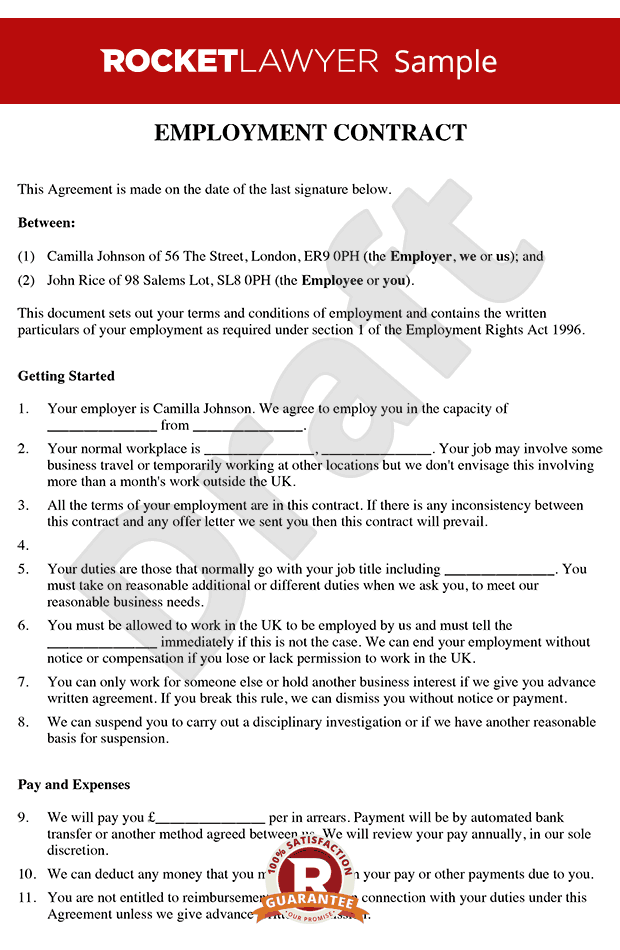 Employment Contract Template   Free Contract Of Employment