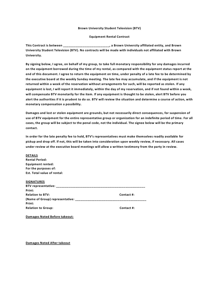 simple equipment lease agreement template equipment lease
