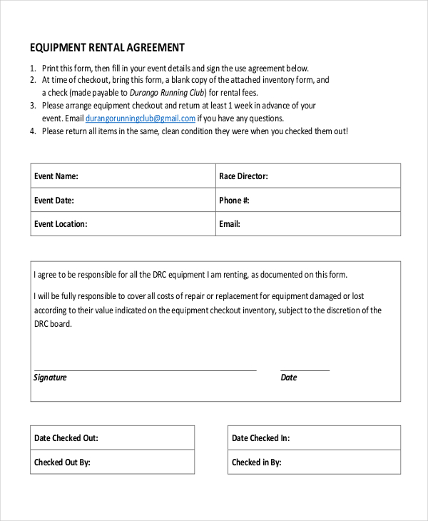 equipment lease agreement template south africa 20 equipment