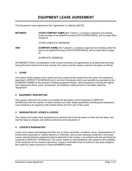 equipment rental agreement template doc equipment rental agreement