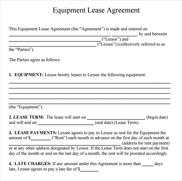 Simple Equipment Rental Agreement Template Free An Lease Form