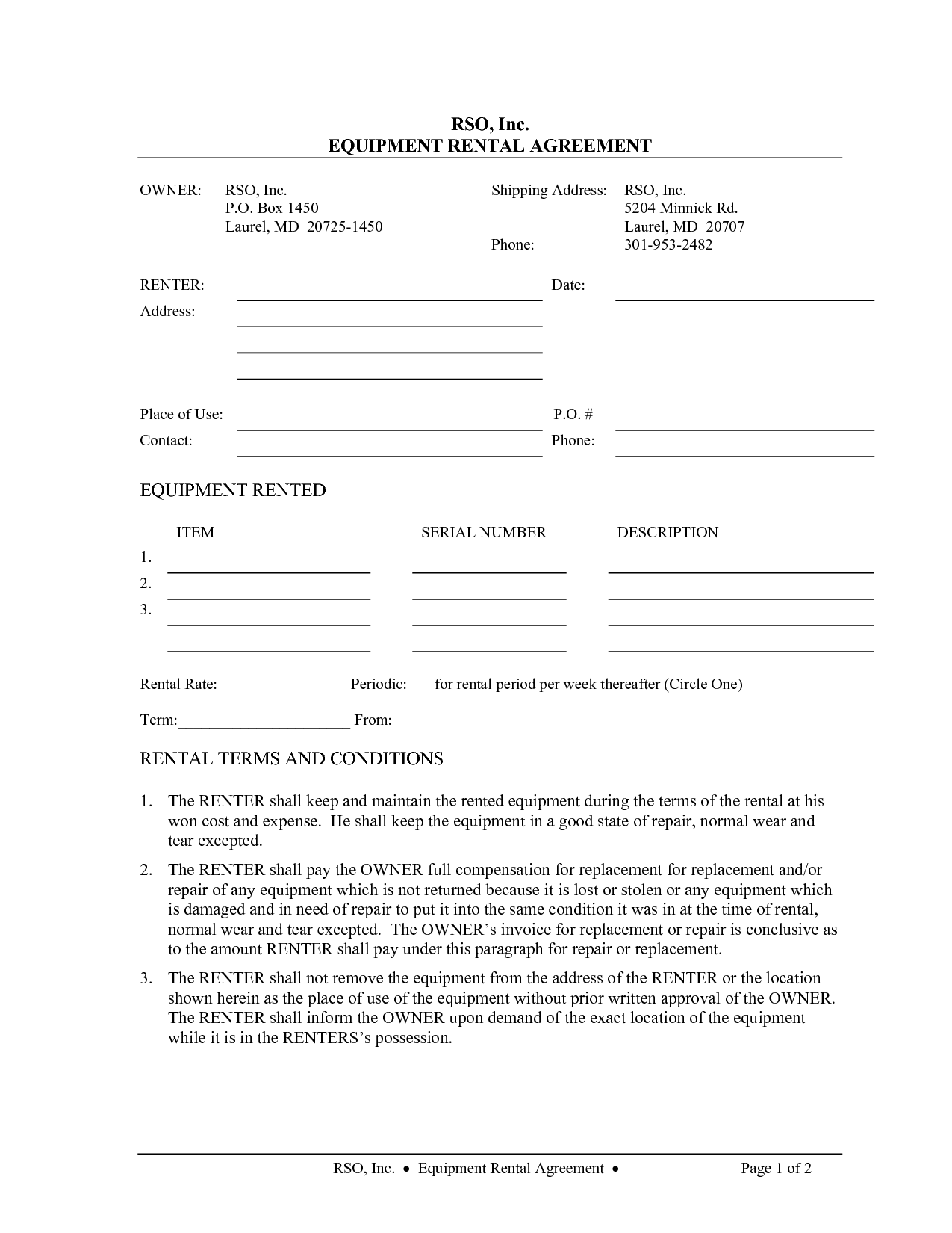 Equipment Rental Agreement Form Template   Swineflutrackingmap.com
