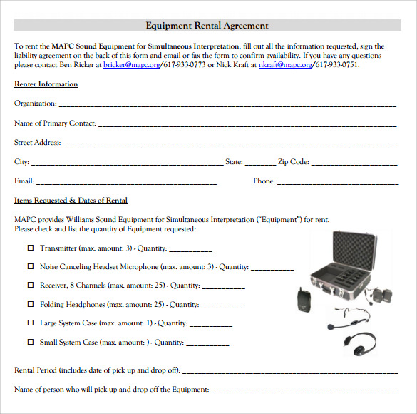 lease agreement for equipment rental template equipment lease