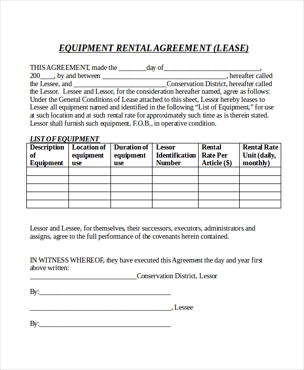 equipment rental contract form   Into.anysearch.co