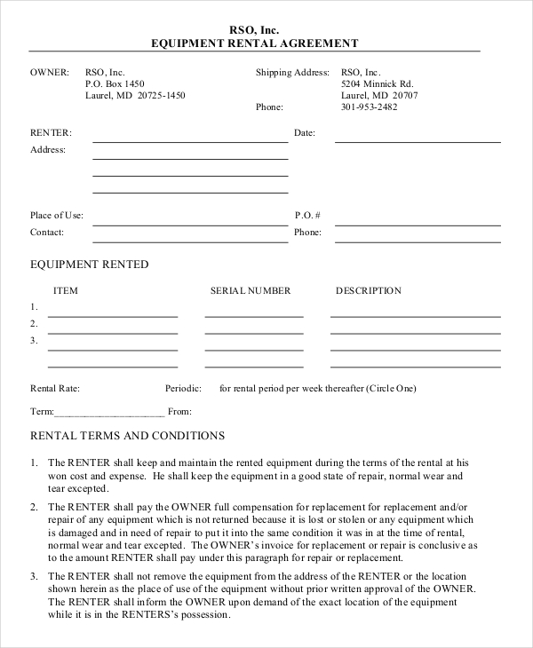 equipment rental agreement template doc 20 equipment rental