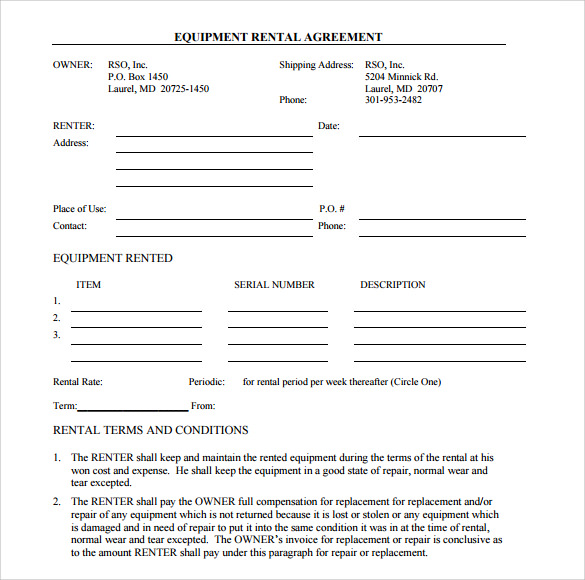equipment rental agreement template free remarkable equipment