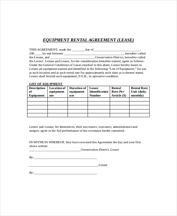 product rental agreement template sample equipment rental
