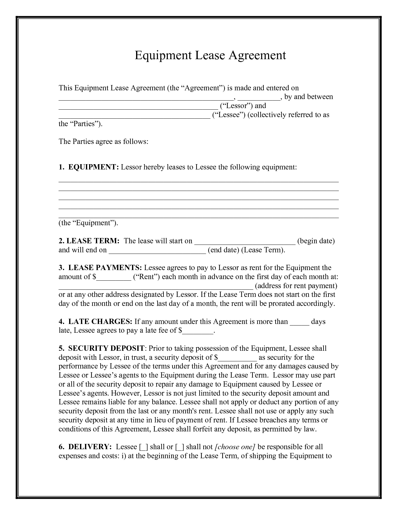 equipment rental form template   Mini.mfagency.co