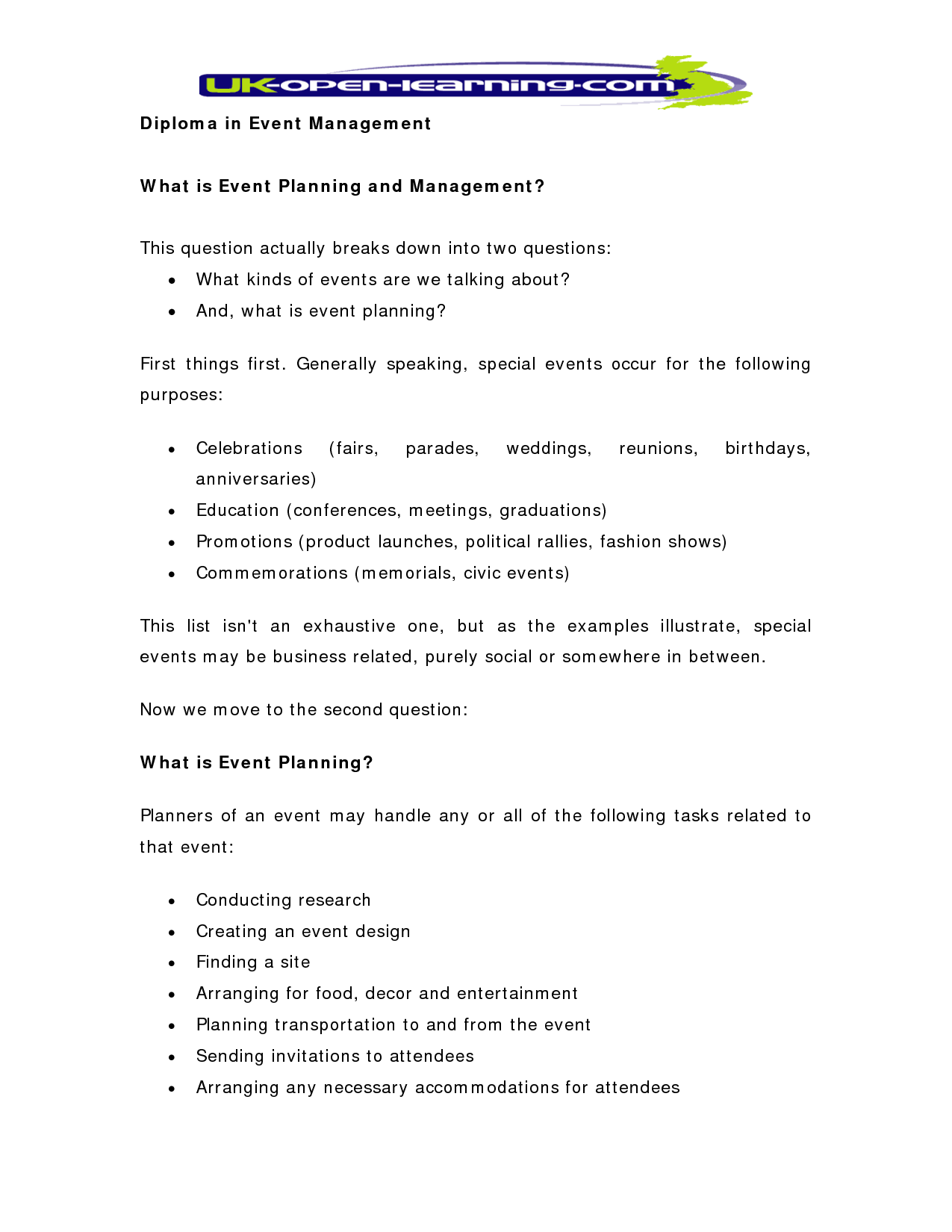 the one page real estate business plan wedding and event planning