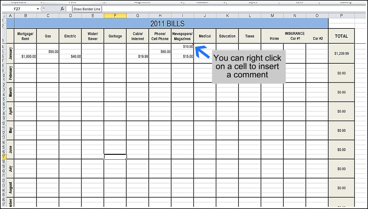 Excel Bill Tracker Excel Bill Template Budget Tracker Excel
