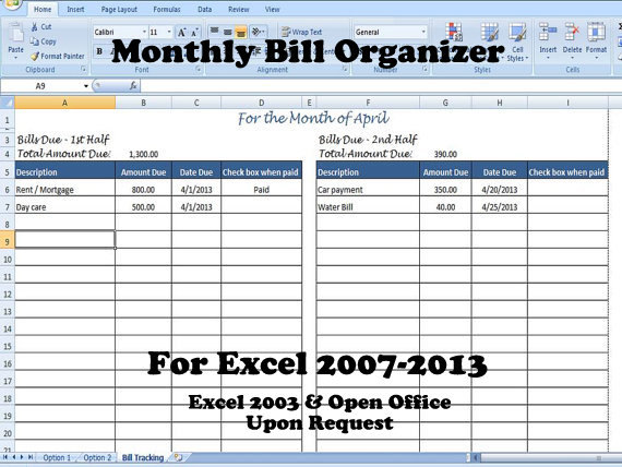 Bill Organizer Template Excel, Divide Payments into 1st & 2nd Half
