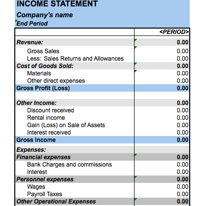 Income Statement Excel | beneficialholdings.info