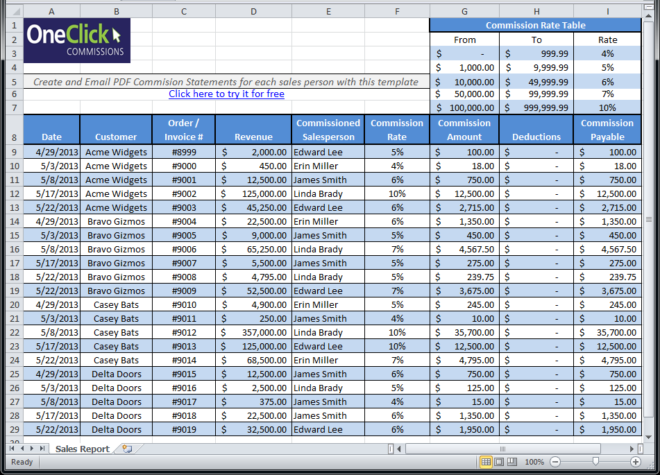 Free Excel templates for Payroll, Sales Commission, Expense