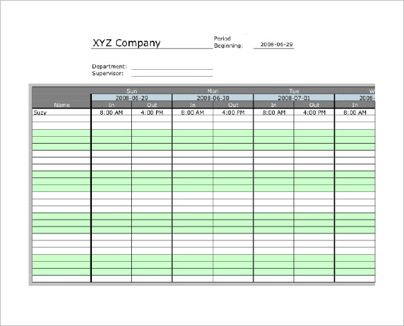 excel timesheet template   Teacheng.us