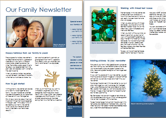 Family Newsletter Template   Ant Yradar