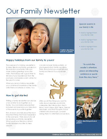 Family Christmas newsletter