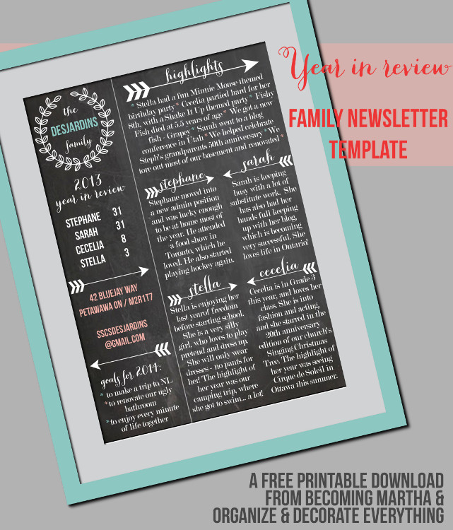 Family Newsletter Template   Printable Contributor   Organize and