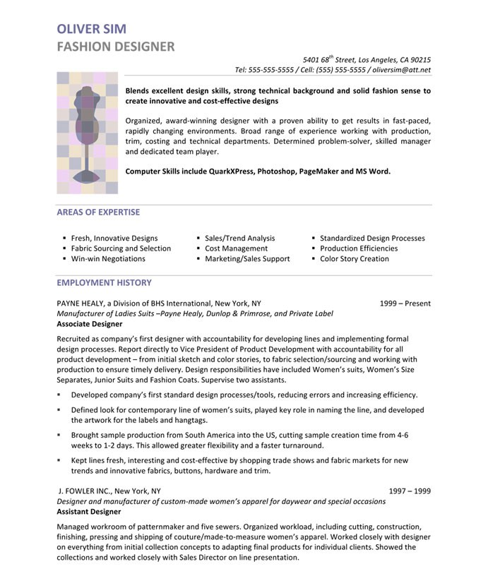 Fashion Designer Resume Fashion Design Resume Perfect Resume