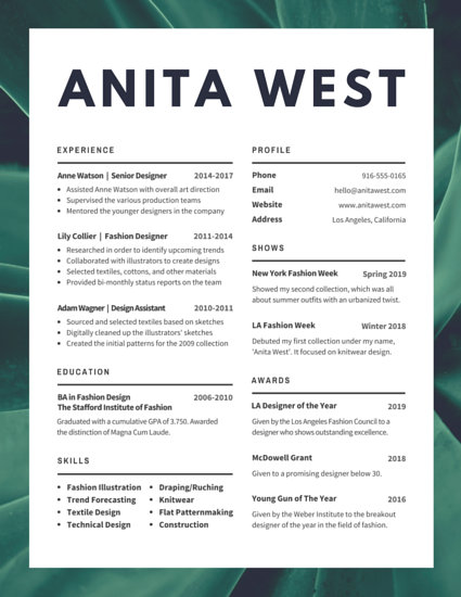Lush Fashion Designer Resume   Templates by Canva