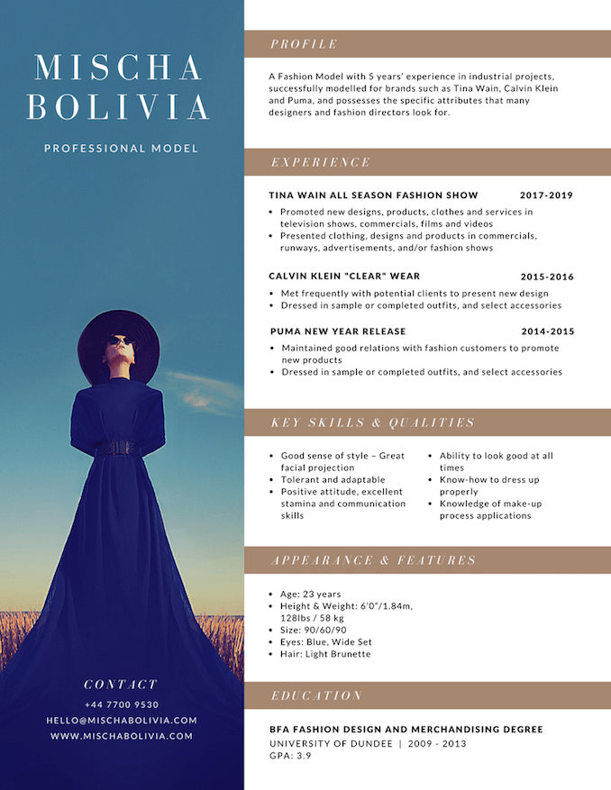 Fashion designer resume designers standart concept photo   tattica